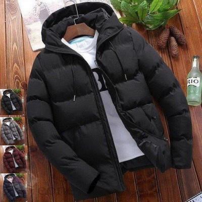 新品人気ダウンジャケット中綿メンズコートブルゾン 厚手フード付き 4色 アウター 防寒アウトドア