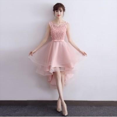 ラウンドネック 花柄 レース刺繍 ワンカラー フェミニン フィッシュテール 華やか 上品 パーティー ドレス
