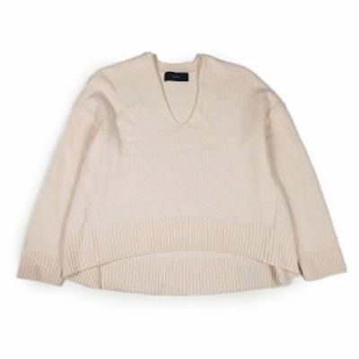 【中古】シップス SHIPS Vネック ニット プルオーバー カットソー 長袖 セーター 無地 アンゴラ・カシミア混 ピンク