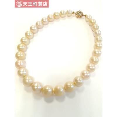 質屋出品【大粒 パールネックレス】K14 留金  シロチョウ養殖 真珠 16mm大 ネックレス 中古