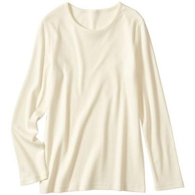 裏起毛クルーネックTシャツ(綿100%)/オフホワイトA/L