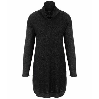 トリバル ワンピース トップス レディース Long Sleeve Cowl Neck Dress with Pockets Black