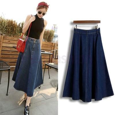 人気 デニム スカート ロング DENIM SKIRT ドレス S M L 大きいサイズ カジュアルレディース 無地 シンプル 女性