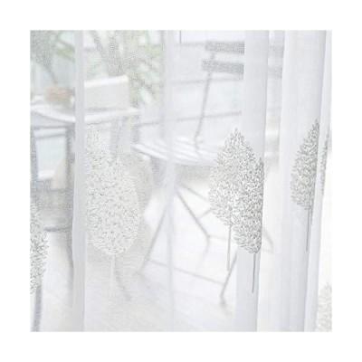 MRTREES 無地シアーカーテン 葉の刺繍入り 54×96 Inches Long グレー