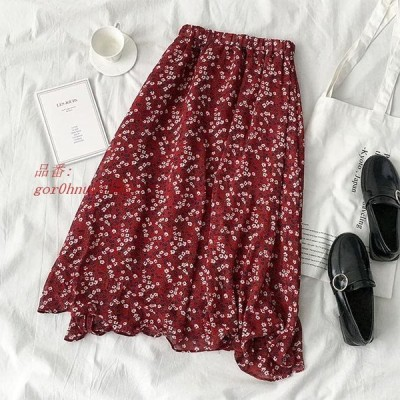 シフォンスカート ミモレスカート Aラインスカート 夏 花柄 裏地付き 花柄スカート ロングスカート サマースカート レディース スカート