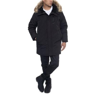 ショーンジョン Sean John メンズ コート アウター Faux Fur Trimmed Three-Quarter Snorkel Coat Black