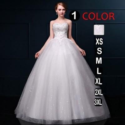 ウエディングドレス安いプリンセスエンパイア花嫁白ロング二次会ドレスパーティードレス花嫁ドレスイブニングドレス結婚式披露宴