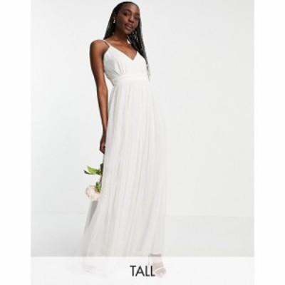 アナヤ Anaya Tall レディース パーティードレス Vネック マキシ丈 Anaya With Love Tall Bridesmaid Tulle V Neck Maxi Dress In White