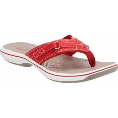 クラークス レディース サンダル シューズ Breeze Sea Flip Flop Red Synthetic