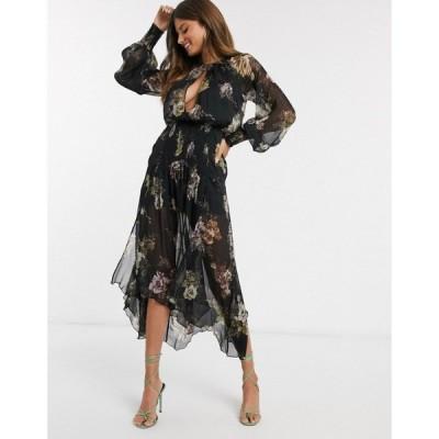 エイソス ASOS DESIGN レディース ワンピース ワンピース・ドレス drop waist shirred floral midaxi dress ブラックフローラル