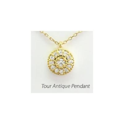 ネックレス ダイヤモンド ゴールド 18k ペンダント アンティーク ミル 18金 K18 YG