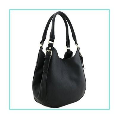 【新品】Light-weight 3 Compartment Faux Leather Medium Hobo Bag Black(並行輸入品)