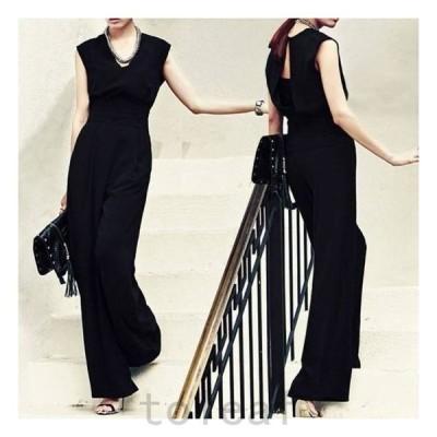 パーティードレスパンツパンツドレスかっこいいパンツドレスノースリーブワイドパンツ黒パーティードレスパンツ大きいサイズ結婚式パーティドレス