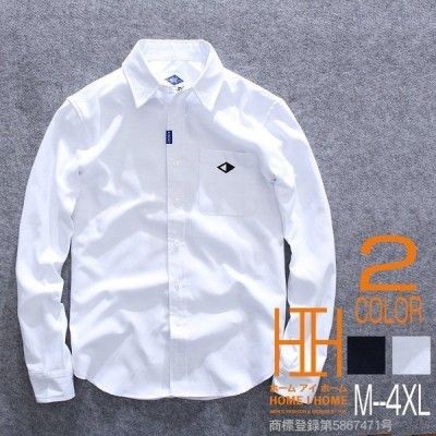シャツ メンズ 長袖 白シャツ カジュアル ストリート系 刺繍 秋 新作