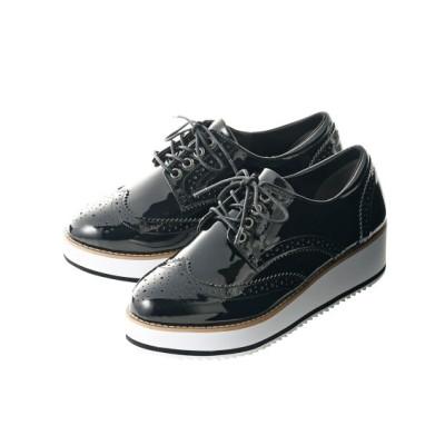 【ゆったり幅】プラットフォームオックスフォードシューズ(低反発中敷)(ワイズ4E) シューズ(フラットシューズ) Shoes
