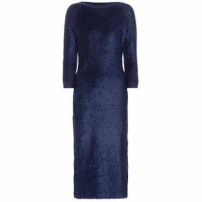プラダ Prada レディース ワンピース ワンピース・ドレス mohair and cotton-blend dress Bleu