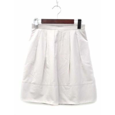 【中古】アンタイトル UNTITLED スカート 1 S グレージュ フレア タック 無地 シンプル レディース