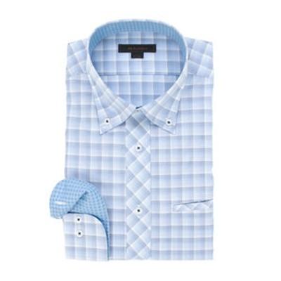 形態安定レギュラーフィット ボタンダウン玉縁ポケット長袖ビジネスドレスシャツ/ワイシャツ