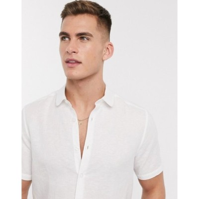 エイソス メンズ シャツ トップス ASOS DESIGN regular fit smart linen shirt with penny collar in white