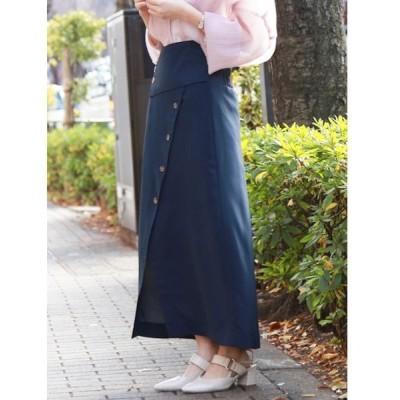 スカート フロントボタンタイトスカート