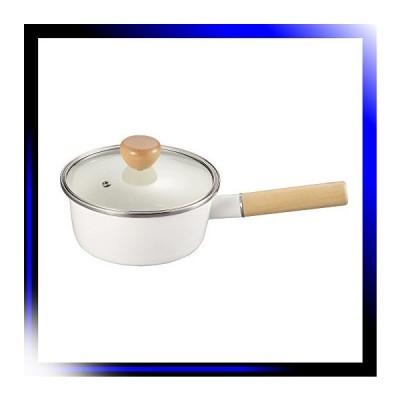 ホワイト アミィ ホーロー ガラス蓋 片手鍋 16cm ホワイト HB-80