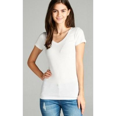 Tシャツ レディース エーシー White Women Basic Short Sleeve Shirts V Neck Plain Solid T Shirt Top (S 3XL)