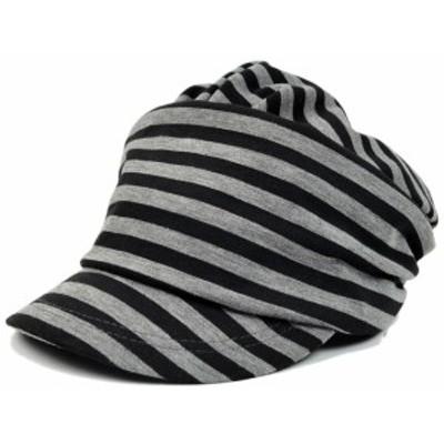 BIGWATCH正規品 大きいサイズ 帽子 メンズ ボーダー シェード ニット ビッグワッチ/ブラック/グレー/ルーズ/キャスケット/つば付帽子/L