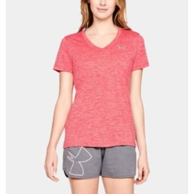 アンダーアーマー レディース Tシャツ Under Armour UA Tech Twist V-Neck T-Shirt 半袖 Watermelon