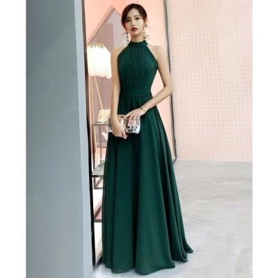 シフォン ワンピース シフォン ドレス パーティードレス ノースリーブ ノースリーブ ロングドレス ホルターネック ドレス 上品 エレガン