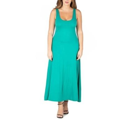 24セブンコンフォート ワンピース トップス レディース Women's Plus Size Simple A Line Tank Maxi Dress Jade