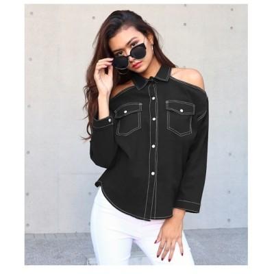 ANAP オープンショルダーカラーステッチシャツ ブラック