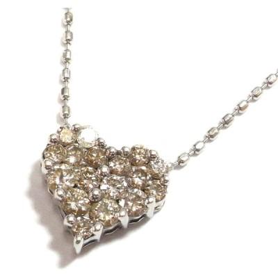 K10WG(ホワイトゴールド) ダイヤモンド ネックレス ペンダント レディース ハート