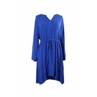 Alfani  ファッション ドレス Alfani Blue Long-Sleeves High-Low Dress 14