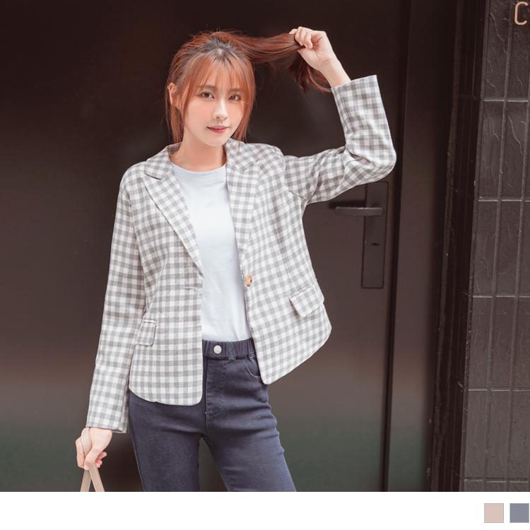 清新格紋棉麻感修身剪裁墊肩西裝外套