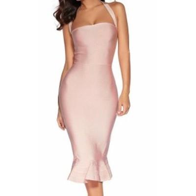 Meilun  ファッション ドレス Meilun Womens Pink Size Medium M Flounce Hem Halter Sheath Dress