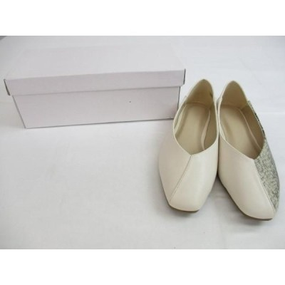 未使用 シューズインクローゼット Shoes in Closet パンプス LL アイボリー Vカット スクエアトゥ フラット 2way 合成皮革