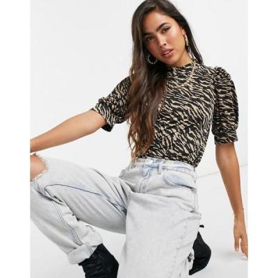 ヴィラ レディース カットソー トップス Vila high-neck top with cuffed sleeves in zebra print Zebra print