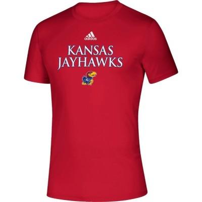 アディダス adidas メンズ Tシャツ トップス Kansas Jayhawks Crimson Locker Room Word Performance T-Shirt