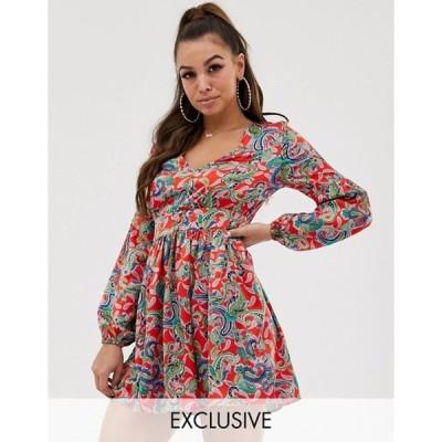 ミスガイデッド レディース ワンピース トップス Missguided button through mini dress in paisley print