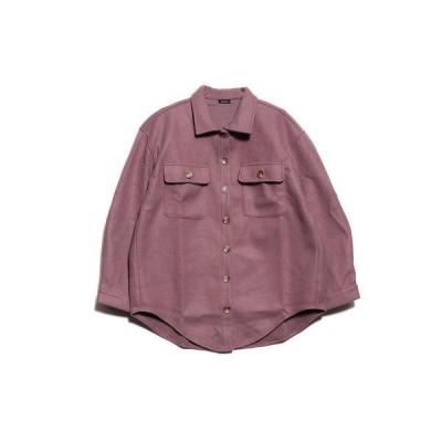 スタイルブロック STYLEBLOCK プリントパッチ付きオーバーサイズシャツ (スモーキーパープル)