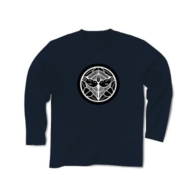 上杉 謙信(家紋) 長袖Tシャツ Pure Color Print(ネイビー)