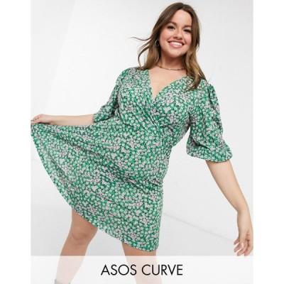 エイソス ドレス 大きいサイズ レディース ASOS DESIGN Curve mini tea dress with twist front in green floral print エイソス ASOS グリーン 緑