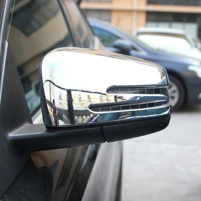 送料無料 2 ピース ABS クロームサイドドアバックミラートリム車アクセサリー用メルセデスベンツ CLA GLA GLK クラス W117 W176