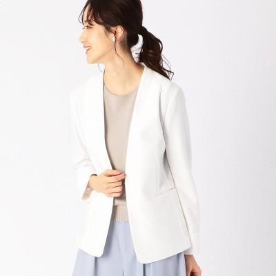 コムサイズム COMME CA ISM ノーカラー ジャージージャケット <日本素材 ウォッシャブル 吸水速乾 ストレッチ>(ホワイト)