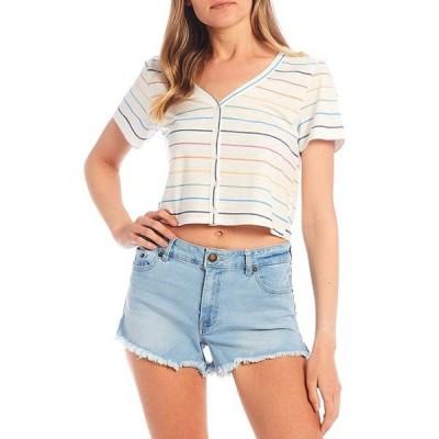 カッパーキー レディース Tシャツ トップス Stripe Button Front Knit Tee