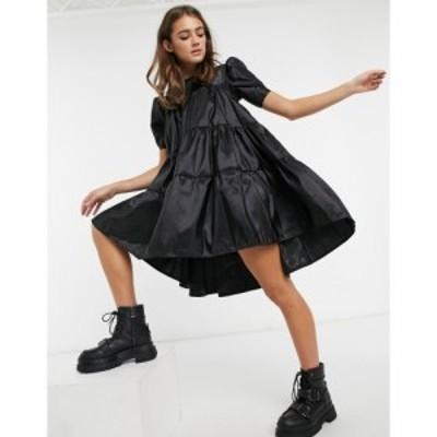 ジョンザック John Zack レディース ワンピース ワンピース・ドレス pleated smock dress in black ブラック