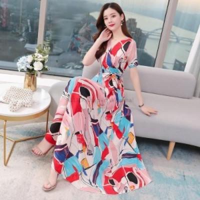レディースファッション 新しいVネック半袖気質スリムフィットウエストフローラルシフォンドレスの2020年夏の韓国語バージョン  2020 sum