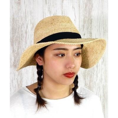 帽子 ハット グログランリボンの100%ラフィアハット