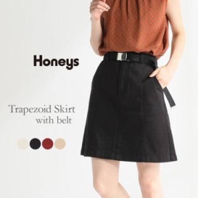 スカート レディース ミニ ミニスカート GIベルト 白 黒 赤 ベージュ 雑誌掲載 popteen Honeys ハニーズ ベルト付台形スカート