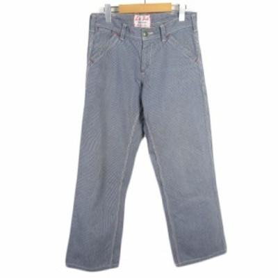 【中古】レフトフィールド Left Field パンツ ペインター ワーク ヒッコリー 1 青 ブルー メンズ